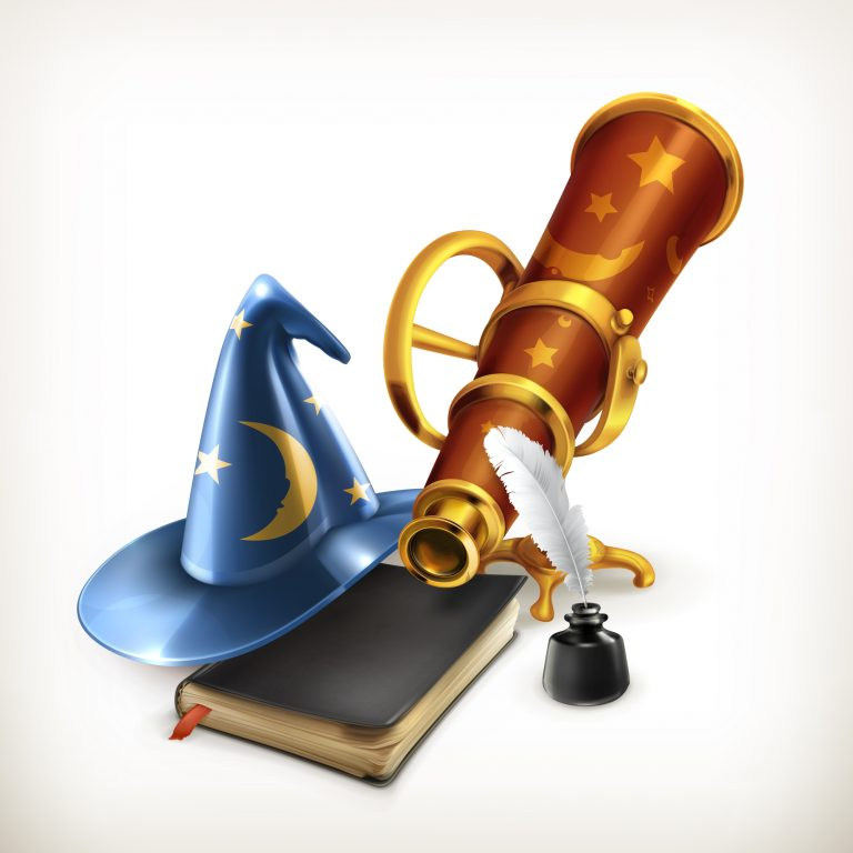 Magician hat and telescope, vector illustration